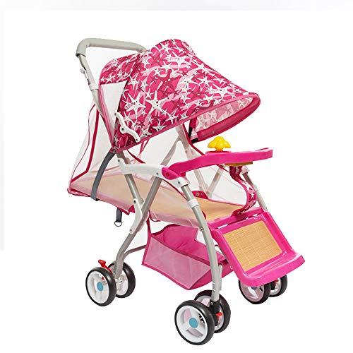 Unbekannt Kinderwagen Bambus Rattan Licht kann sitzen liegend tragbare Falten Kinder Trolley Vier Rad Kinderwagen,A