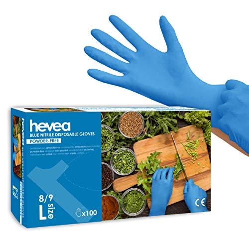 Hevea - Einweghandschuhe aus Nitril. Puder- und latexfrei. Packung aus 5 Kartons mit je 100 Handschuhen. Größe: L (groß). Farbe: Blau