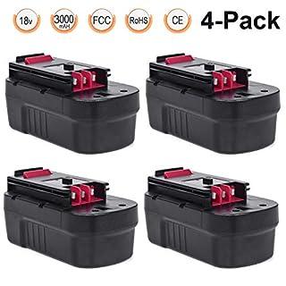 A18E Battery 18V 3.0Ah 4 Packs, LENOGE Black+Decker HPB18 HPB18-OPE A18 FSB18 FS18BX FS180BX 244760-00 Replacement Battery for Black and Decker GTC610 GPC1800 EPC188 HP188F2K Power Tool