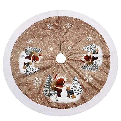 LegendTech Weihnachtsbaum Röcke Weihnachten Themenorientierte Muster Feiertags-Baum-Röcke Weihnachtsmann Schneeflocke Braun Weihnachtsbaum Dekoration zum Zuhause Bar Supermarkt 90 cm -