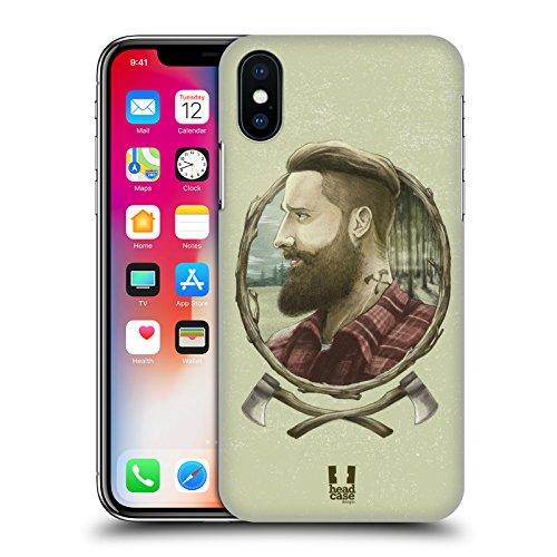 Head Case Designs Marinaio Uomini Hipster Cover Retro Rigida per Apple iPhone X Boscaiolo