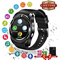 Smartwatch Android IOS, Touch Screen Smart Watch con Camera, SIM Card e TF Card Slot, Pedometro Orologio Intelligente Fitness Activity Tracker Wrist Watch Braccialetto per Uomo Donna Bambini per Android e iOS Smartphone (Nero)