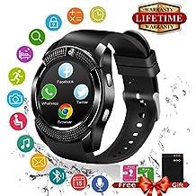 Smart Watch,Teléfonos Inteligentes Reloj Inteligente Bluetooth Smart Watch Reloj Inteligente Hombre Mujer Niño Reloj Deportivo Con Cámara Soporte SIM / TF para Android/IOS Negro