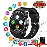 Smartwatch Android IOS, Impermeabile Touch Screen Smart Watch con Camera, SIM Card e TF Card Slot, Cardiofrequenzimetro da Polso, Pedometro Orologio Intelligente Fitness Activity Tracker Wrist Watch Braccialetto per Uomo Donna Bambini per Android e iOS Smartphone (Nero)