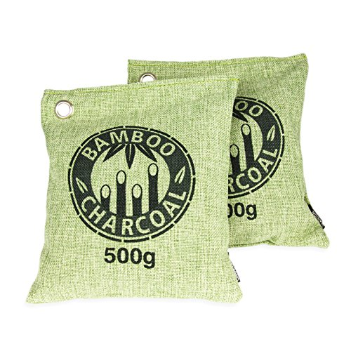 2er SET (500g) Luftentfeuchter mit Bambus-Aktivkohle im Duftsäckchen. Luftreiniger zur Geruchsentfernung im Zimmer, Auto, Schuh, Sporttasche, Bad, WC, Tiergeruch, Geruchsneutralisierer, Farbe: Grün