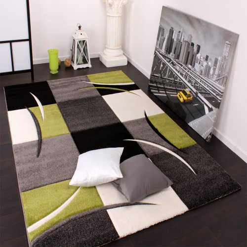 Designer Carpet With Contour Cut Chequered In Green And Black, Size:160x230 cm