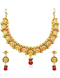 Sukkhi Ritzy Gold Plated Temple Jewellery Necklace Set For Women