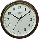Rikon Quartz Plastic Round Shape Small Size 22.5 Cm X 22.5 Cm Home Decor Wall Clock - 11 (Brown Ivory)