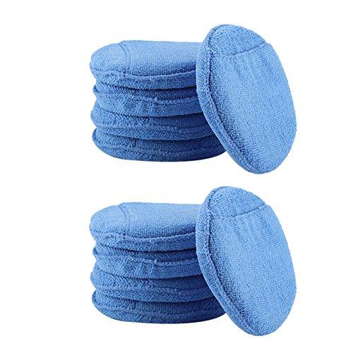 Fdit Mikrofaser Schaum Schwamm Politur Wachs Super Soft Mikrofaser Polieren Pads mit Tasche für Auto Wachse Glasuren 10ST