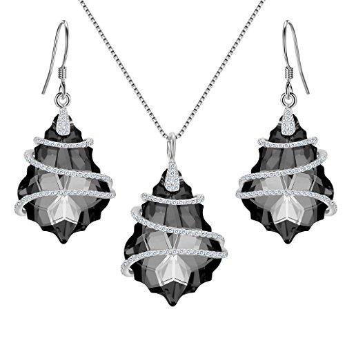 EVER FAITH® 925 Sterling Silber CZ Baroque Form Halskette Ohrringe Set grau geschmuckt mit Kristall von Swarovski®