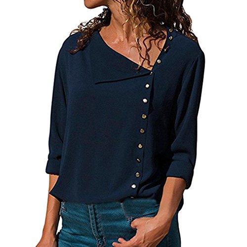 TEBAISE 2018 Ausverkauf Frauen Büro Oktoberfest Party offenen Kragen Elegante Formale Casual Revers Neck T-Shirt Damen Langarm Schnalle Bluse Tops Marine 48 DE/XL CN
