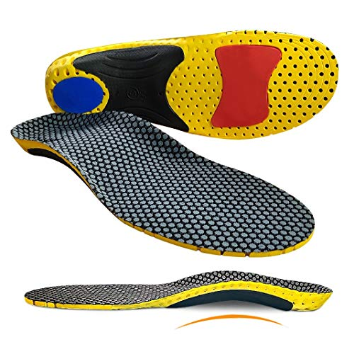 Orthotic Insole Foot Arch Support Insert for Severe Flat Feet,Plantar Fasciitis,Feet Pain,Foot Valgus Soft Medical Functional insoles for Men Women, Grey/Yellow