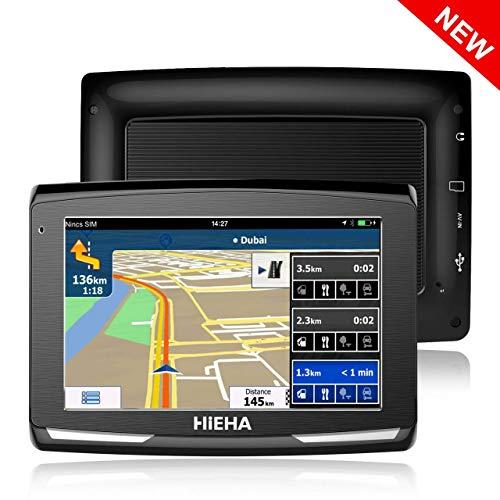 5' GPS Voiture Auto Moto 8GB, HIEHA Appareil de Navigation Écran Tactile, Instructions Vocales, Système de Navigation avec Multi-Languages (Gratuits Cartographie d'europe Mode à Vie)