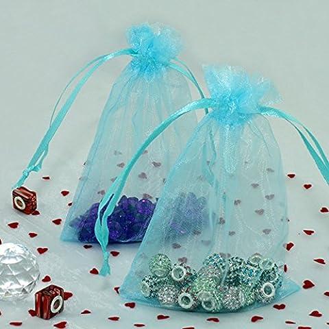 bitfly 10010,2x 15,2cm Organza Kordelzug Beutel Schmuck Hochzeit Geschenk Taschen 10x 15cm Weihnachten Hochzeit Candy Tasche erhältlich in 17Farben türkis