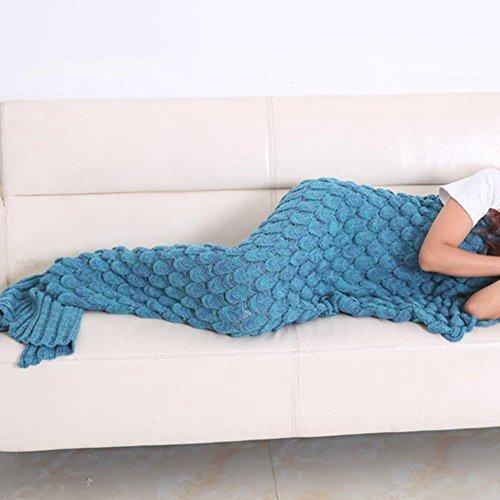 Meerjungfrau Decke, AM Seablue Handgemachte häkeln meerjungfrau flosse decke für Erwachsene, Mermaid Blanket alle Jahreszeiten Schlafsack Für Erwachsene (Blau)