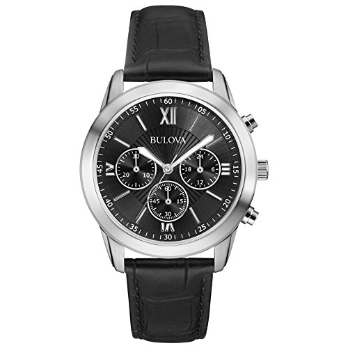 Bulova 96A173 Dapper Gents Dress Watch, Classic Leather Strap, Sleek Silver Details, Chronograph Capabilities, Japanese Quartz Power.