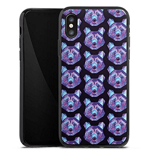Apple iPhone X Silikon Hülle Case Schutzhülle Bär Weltall Muster Silikon Case schwarz
