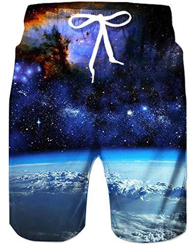 Qiuck Dry Shorts Badeshorts für Männer Freizeit Sport Short Schnelltrocknend Urlaub Badeshorts 3D Galaxy Lustig Kurze Hosen Gym Shorts XL