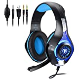 Koiiko® PS4 Gaming Headset 3.5mm Plug Bass Earphones Stereo Over-Ear Headphones with Mic LED Light Volume Control Compatible for PC Laptop PS4 Xbox One Mac Laptop Tablet Phones(Black + Blue)