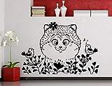 Testa di gatto modellata Simpatico adesivo da parete Casa Chlidren Camera da letto Divertente amorevole Decorazione Vinile Adesivo da parete Adesivo Carta da parati 57 * 80 cm