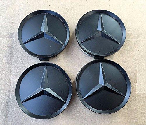 4x-Tappi-Coprimozzo-Logo-Mercedes-Benz-Nero-Matte-ALL-BLACK-da-75mm-CLASSE-A-B-C-E-CLK-GL-M-ML-SLK-per-Borchie-Cerchi-Lega