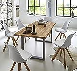 SAM Essgruppe Seattle, Baumkantentisch 180 x 90 cm, silbernes U-Gestell aus Metall + 6X Schalenstuhl Bojan weiß, Eichenholz