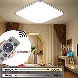 MYHOO 24W Modern Dimmbar LED Ultraslim Deckenleuchte Badleuchte Deckenlampe Flurleuchte Silber (3000-6500K)