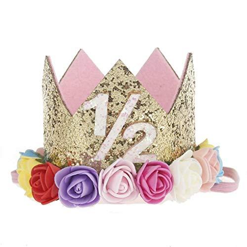 Morelyfish Baby-Jungen-Geburtstags-Blumen-Partei-Kappen-Stirnband 1/2 1 2 3 Jahr Anzahl Newborn Geburtstags-Hut