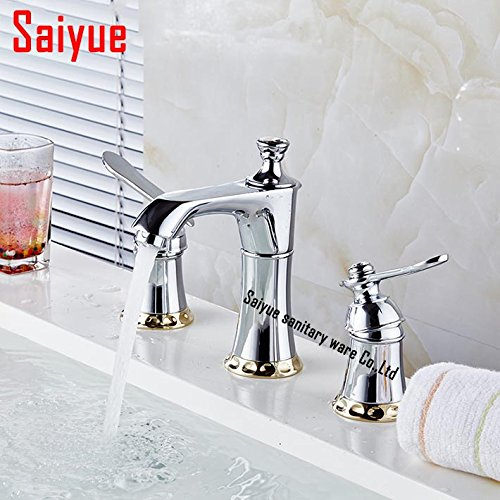 Maifeini 3-Hole Two Handle Widespread Laundry Utility Bathroom Faucet Modern Hotel Style Sink Tap