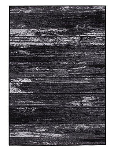 Alfombra Wood en imitación a madera estampado, fácil de limpiar, en 2colores, fibra sintética, antracita, 133x190cm