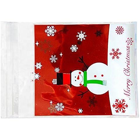 100pcs Bolso de Regalo Caja de Caramelo Galleta Adhesiva Cello Patrón de Muñeco de Nieve Navidad Decoración