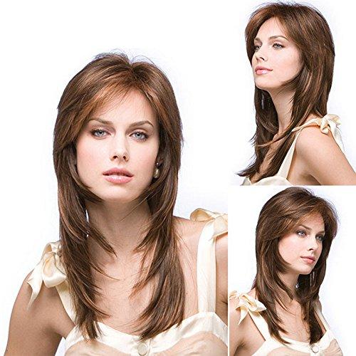 La nouvelle star de la mode européenne et américaine dame perruque tailler longue ligne droite perruque de cheveux perruque synthétique femme