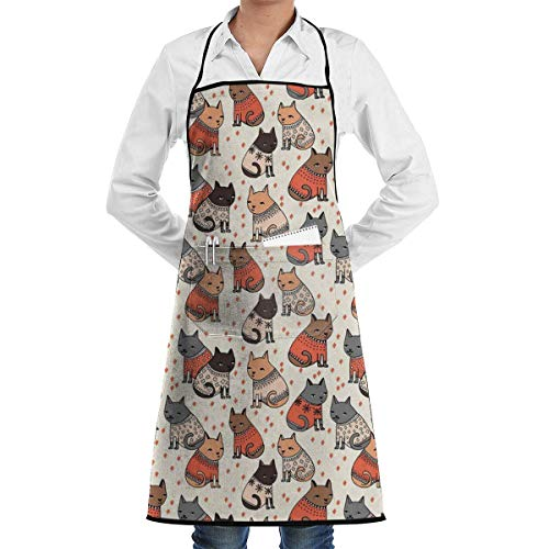 Cats Wearing Sweaters Grill Aprons Kitchen Chef Bib - Professional for BBQ Baking Cooking for Men Women Pockets Aprons with Pockets