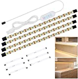 Anpro Striscia LED 2m, set di 4 pezzi da 50cm, Luce bianca naturale 4000k, Include connettori, interruttore e spina europea, uso interno, Accorciabili, Adesive, per soggiorno cucina camera da letto