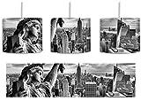 Monocrome, Gigantische Freiheitsstatue in New York inkl. Lampenfassung E27, Lampe mit Motivdruck, tolle Deckenlampe, Hängelampe, Pendelleuchte - Durchmesser 30cm - Dekoration mit Licht ideal für Wohnzimmer, Kinderzimmer, Schlafzimmer
