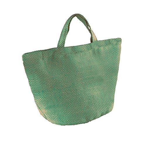 Kimood - Borsa in iuta manico corto - Donna Naturale/Verde acqua