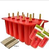 YOUYE 10-Cavity Slicone Frozen Ice Pop mit 100Wooden Sticks für Kleinkinder, Kinder und Erwachsene - BPA frei (rot)
