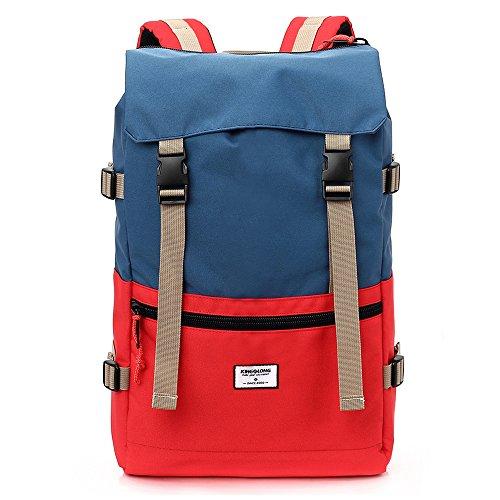 Kingslong Laptop-Rucksack mit Diebstahlschutz, für 15,6 Zoll-Laptops, wasserfeste Computer-Notebook-Tasche mit großem Fach, für Frauen und Männer, blau / rot (Rot) - KINGSLONG