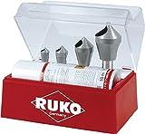 RUKO 102310E Kegel- und Entgratsenker-Satz mit Querloch 90° HSSE-Co 5 in Polystyrol-Kassette, 5 tlg.