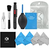 Camera Cleaning Kit for Optical Lens and Digital SLR Cameras including 1 Double Sided Lens Cleaning Pen / 1 Empty Reusable Spray Bottle / 1 Lens Brush / 1 Air Blower / 4 Premium Microfibre Cleaning Cloths - Compatible with Most Cameras including Canon Rebel EOS, Nikon, Olympus, Sony Alpha NEX, Samsung NX & Fuji DSLR