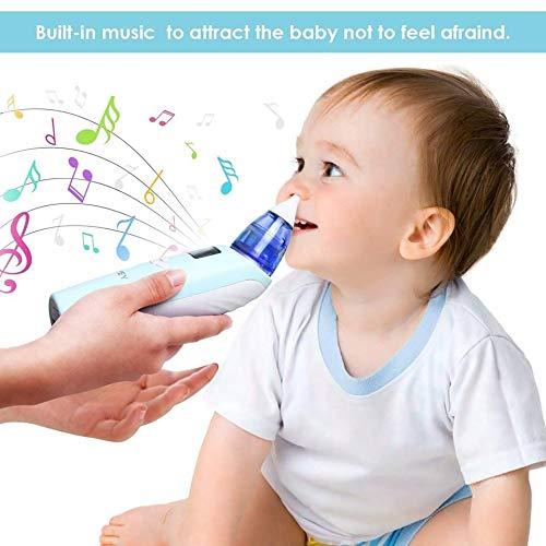 INTEY Nasal Aspirator Nasensauger sicherer und schneller sowie hygienischer Nasenschleimentferner mit Musik & Licht 3 Betriebsstufen & 2 Größe für Neugeborene & Kleinkinder - 6