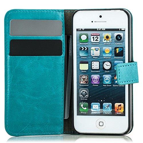 Saxonia® iPhone SE 5s 5 Tasche + Panzerglas Hülle Flip Case Schutzhülle Handytasche mit Kartenfach Braun Blau