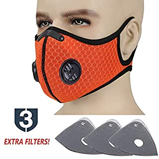 TOLEMI Cycling Dust Mask Respirator Anti Pollution PM2.5 Fold-Flat Air Face Masks with 3 Activated Carbon N99 Filters for Men Women Outdoor Activities Sport Running Motorcycle (Orange+3 filters)