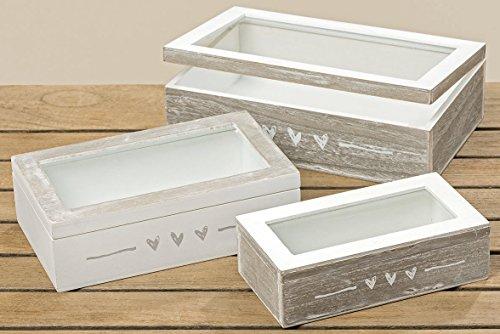 Holzbox Aufbewahrungsbox grau/weiß Herzen 24 x 7 x 15 cm
