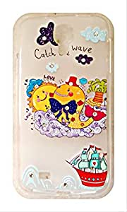 Serebroarts Samsung Galaxy S4 Ultra Soft Silicon Back Cover - Illustration of Catch The Wave Theme With Shining Stone