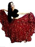 Tänzer Welt POLKA DOT 25 Yard Baumwollrock für Tribal Gypsy Bauchtanz (36/37 Zoll, Kastanienbraun)