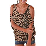 Blusa para Mujer Diario Casual T-Shirt Camisa de Playa Estampado de Leopardo Impreso Manga Corta Tops Top de Hombros Moda Impresa Camiseta Blusa Camisas Mujer Verano