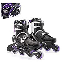 Osprey Kids Roller Blades, Adjustable Inline Skates for Boys and Girls with Safe Lock Straps, Multiple Sizes - Red and Purple