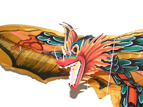 Grande tradicional hecho a mano amarillo Bali Dragón cometa envergadura–46cm, longitud 86cm–comercio justo