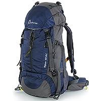 WolfWise Mochila Senderismo 50L Con Cubierta De Lluvia,Para Aventura,Al Aire Libre,Viaje,Camping,Impermeable, Peso Ligero,Azul